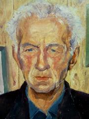 Портрет,  живопись масляными красками на картоне,  размер 48  на  78 ,  г